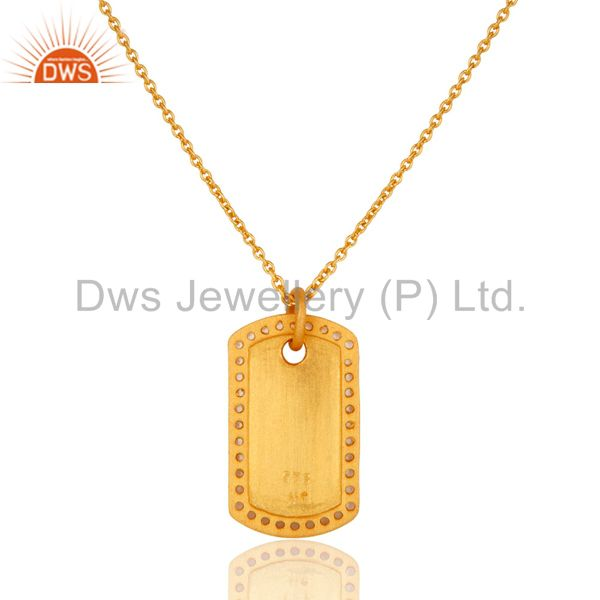 Exporter 18K Yellow Gold Plated Sterling Silver White Topaz Pendant Chain Necklace