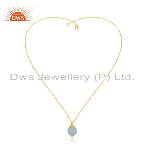 Exporter 92.5 Sterling Silver Aqua Chalcedony Gemstone Gold Plated Chain Pendant Supplier