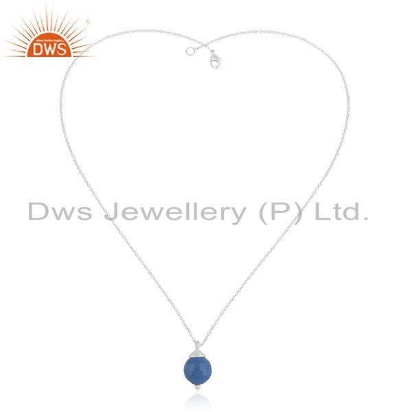 Exporter Bluc Chalcedony Gemstone 925 Sterling Silver Chain Pendant Manufacturer India
