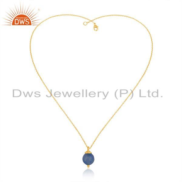 Exporter 92.5 Silver Yellow Gold Plated Blue Chalcedony Gemstone Chain Pendant Wholesale