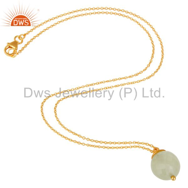 Exporter 18K Gold Plated Sterling Silver Prehnite Chalcedony Designer Pendant With Chain