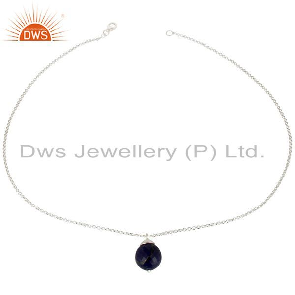 Exporter Handmade Solid 925 Sterling Silver Lapis Faceted Designer Chain Pendant Jewelry