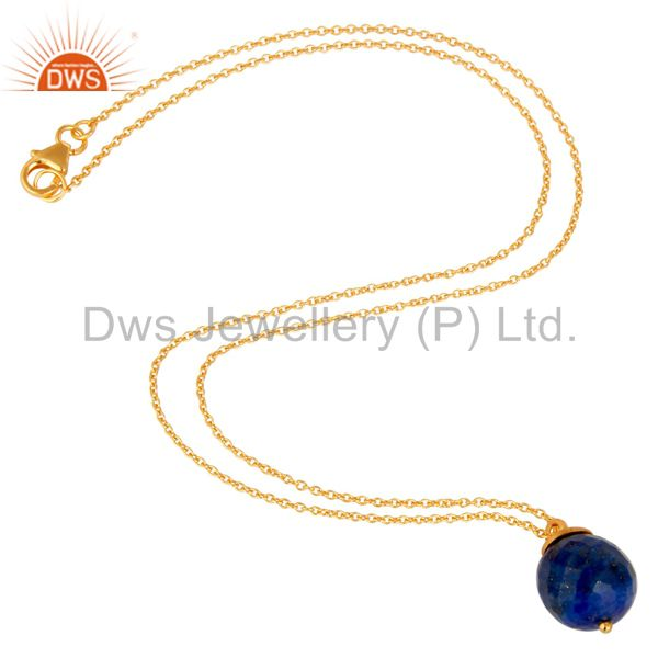 Exporter 18K Gold Plated Sterling Silver Lapis Faceted Designer Pendant With Chain