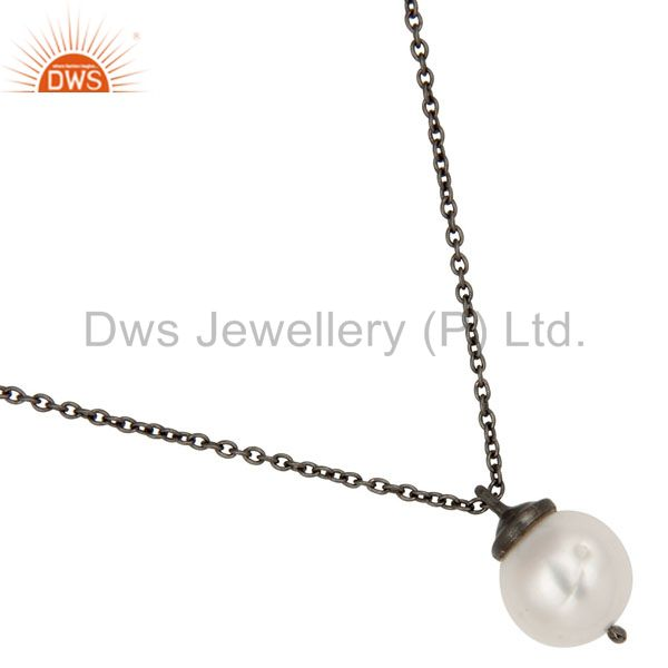 Exporter 925 Sterling Silver With Oxidized White Pearl Designer Pendant With Chain