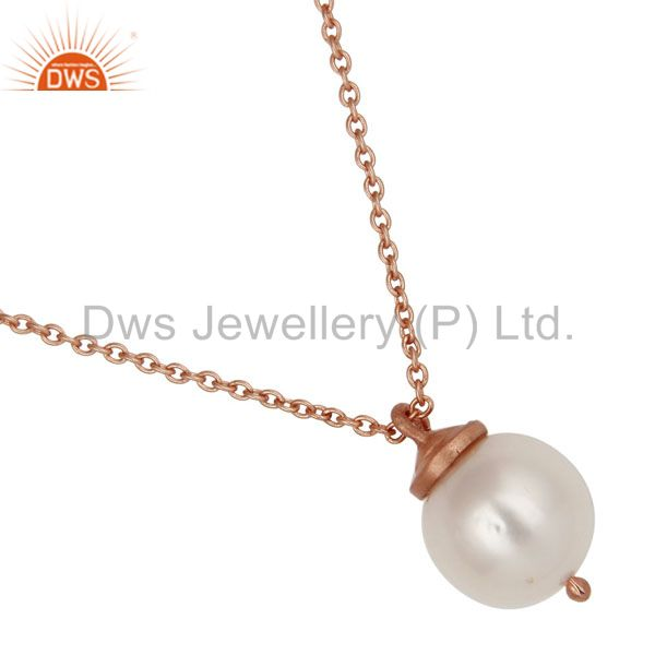 Exporter 18K Rose Gold Plated Sterling Silver White Pearl Designer Pendant With Chain