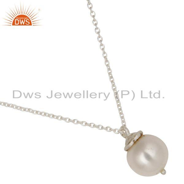 Exporter 925 Sterling Silver White Pearl Designer Pendant With Chain Necklace
