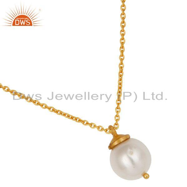 Exporter 18K Yellow Gold Plated Sterling Silver White Pearl Designer Pendant With Chain