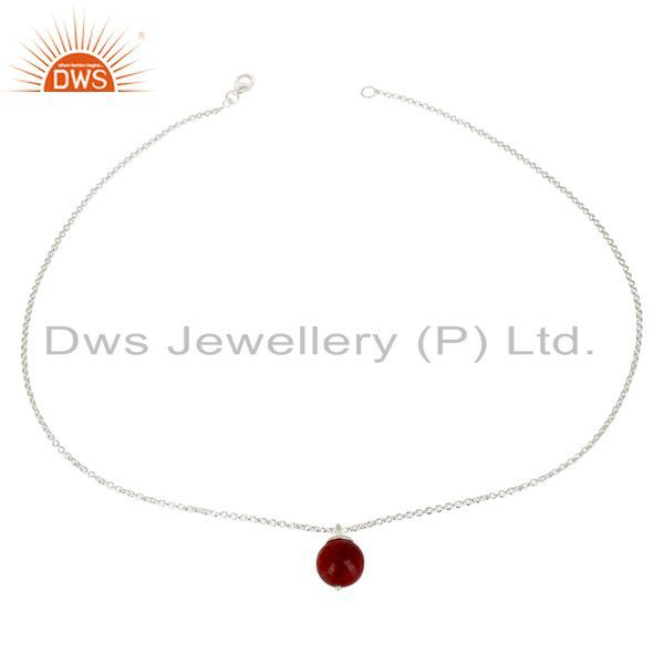 Exporter Handmade Solid 925 Sterling Silver Natural Ruby Designer Chain Pendant Jewelry