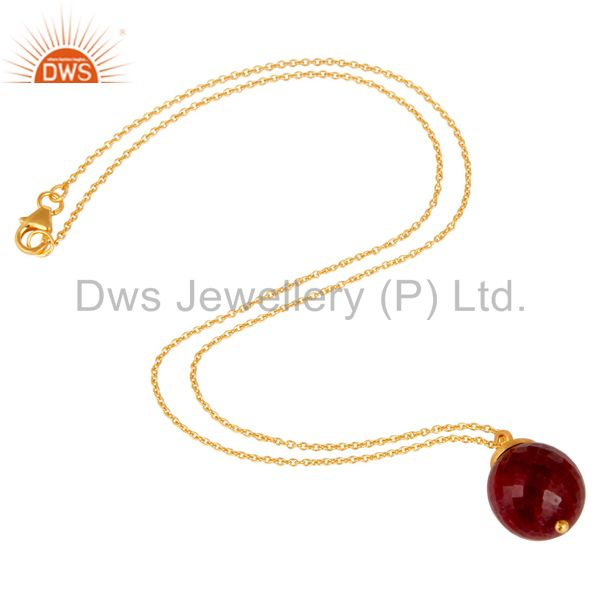 Exporter 18K Gold Plated Sterling Silver Natural Ruby Designer Pendant With Chain