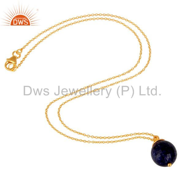 Exporter 18K Gold Plated Sterling Silver Natural Sapphire Designer Pendant With Chain