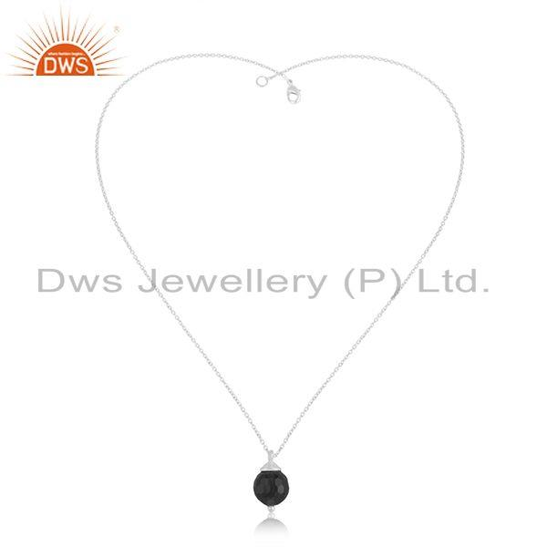 Exporter Designer 925 Sterling Silver Black Onyx Gemstone Ball Pendant Manufacturer India