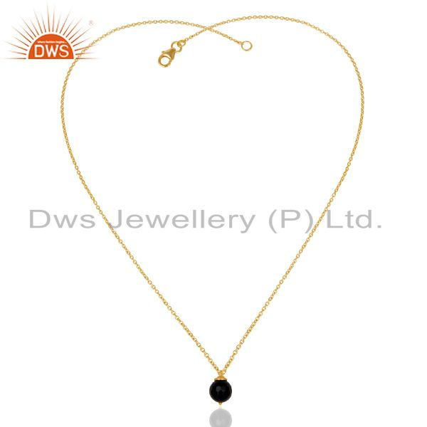 Exporter 18K Gold Plated 925 Sterling Silver Faceted Black Onyx Chain Pendant Necklace