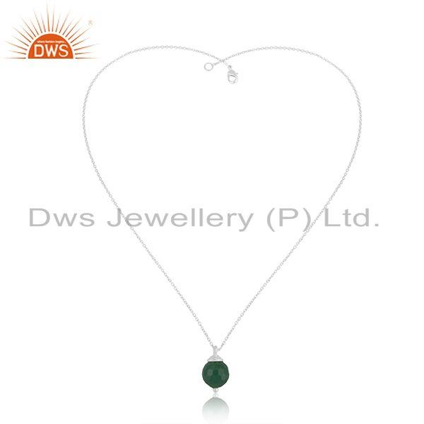 Exporter Ball Design 925 Sterling Silver Green Onyx Gemstone Chain Pendant Manufacturer