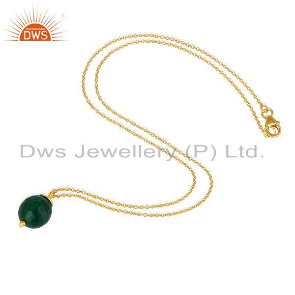 Exporter 18K Gold Plated 925 Sterling Silver Faceted Green Onyx Chain Pendant Necklace