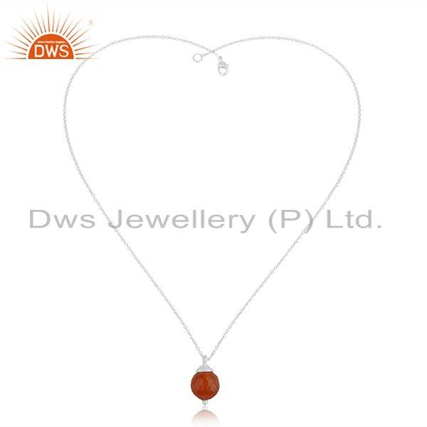 Exporter Natural Red Onyx Gemstone Sterling Silver Chain Pendant Jewelry