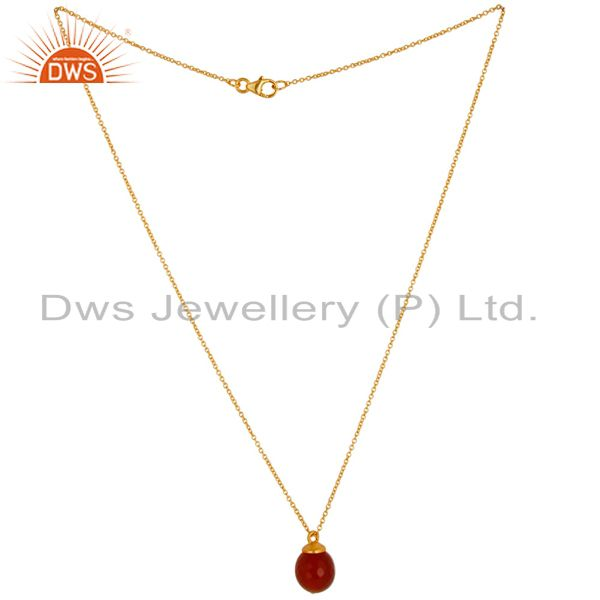 Exporter 18K Gold Plated 925 Sterling Silver Faceted Red Onyx Chain Pendant Necklace