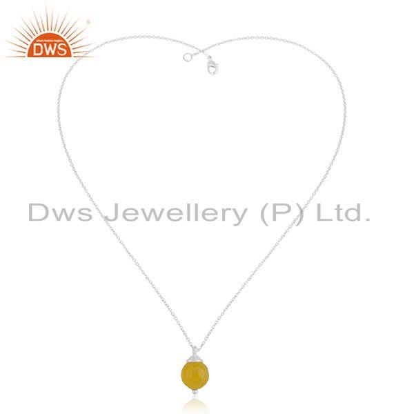 Exporter Yellow Chalcedony Gemstone 925 Silver Chain Pendant Manufacturer India
