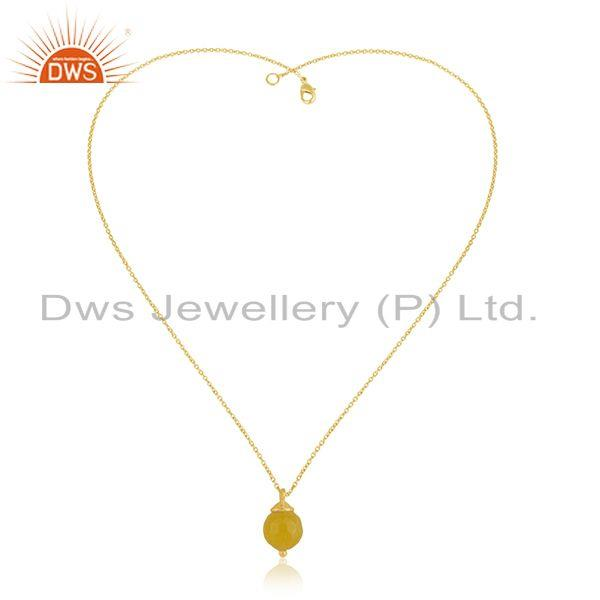 Exporter Yellow Chalcedony Gemstone 925 Silver Gold Plated Chain Pendant Manufacturer
