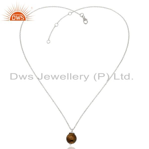 Exporter Sterling Fine Silver Chain Pendant Tiger Eye Gemstone Pendant Jewelry