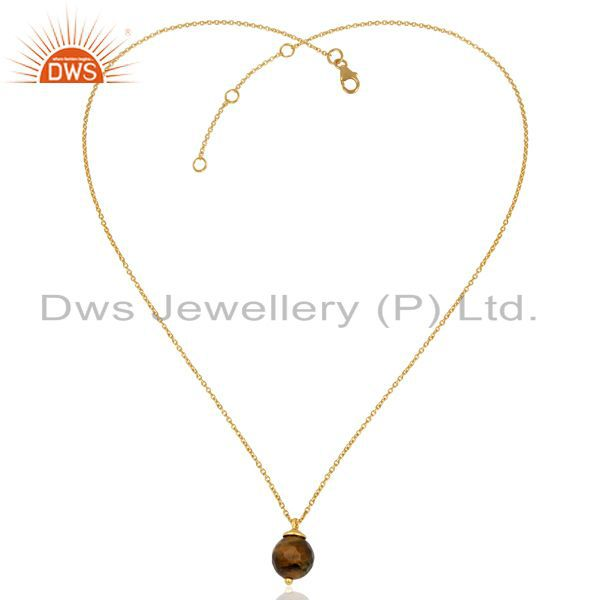 Exporter Tiger Eye Gemstone Gold Plated Silver Fashion Pendant Girls Jewelry