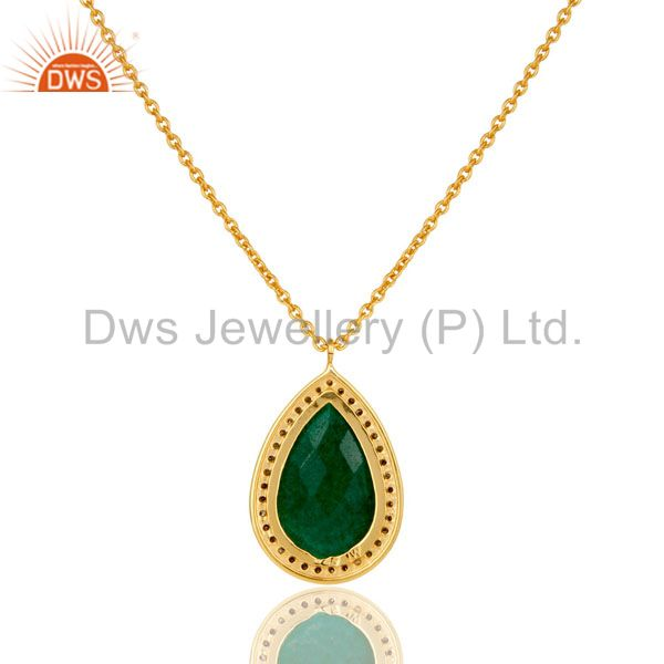 Exporter 18K Yellow Gold Plated Sterling Silver Pave Diamond Emerald Pendant Necklace