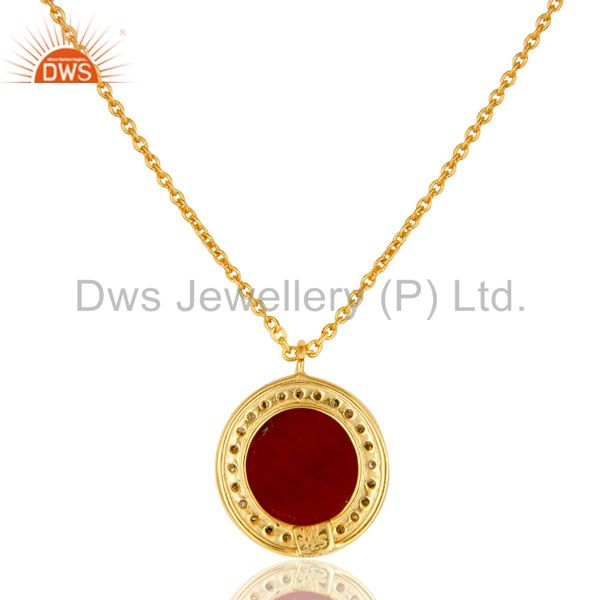 Exporter 18K Yellow Gold Plated Sterling Silver Pave Diamond And Ruby Pendant Necklace