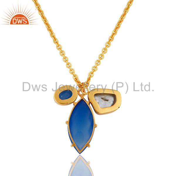 Exporter Blue Chalcedony and Pearl Bezel and Prong Set Handmade 18k Gold Plated Necklace