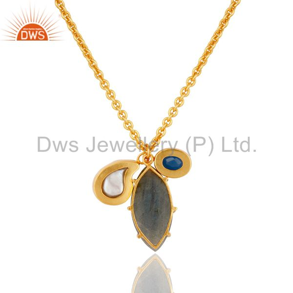 Exporter Blue Chalcedony Pearl and Labradorite Handmade 18k Gold Plated Necklace