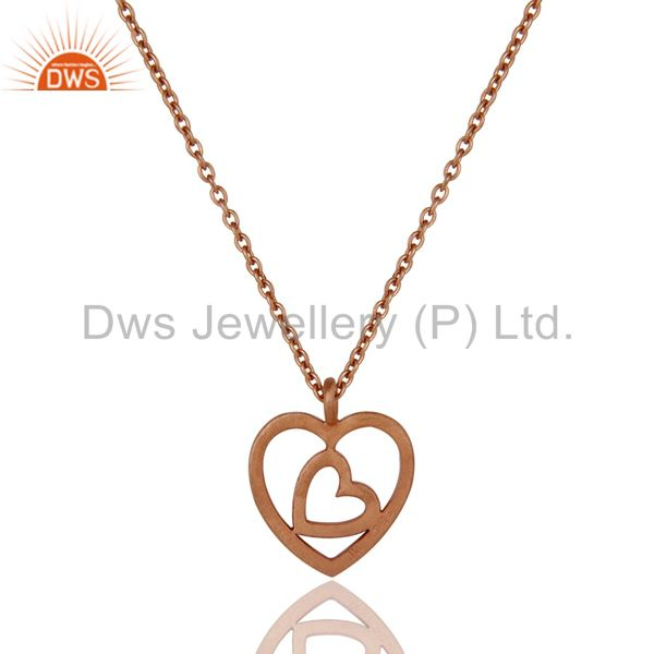 Exporter Rose Gold Plated Double Heart Sterling Silver Pendant Necklace With Chain