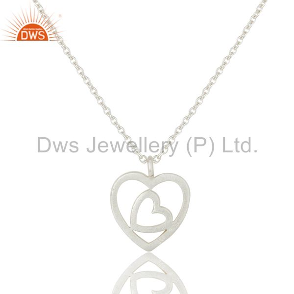 Exporter Double Heart Solid Sterling Silver Pendant Necklace With Chain