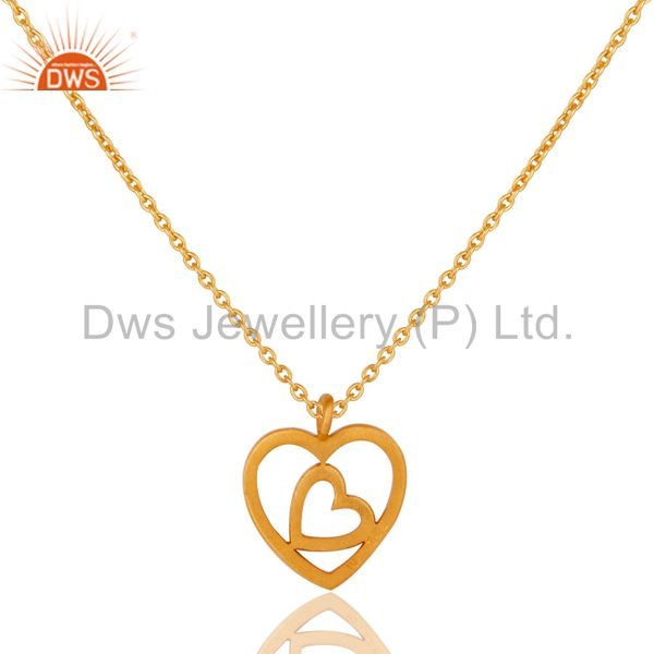 Exporter 18K Yellow Gold Plated Double Heart Sterling Silver Pendant Necklace