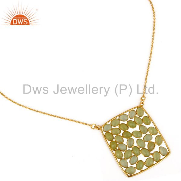 Exporter 18K Gold Plated 925 Sterling Silver Dyed Chalcedony 20