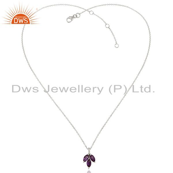 Exporter Amethyst Leaf Finn 925 Sterling Silver Silver Plated Chain Pendant Necklace