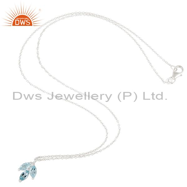 Exporter Blue Topaz Leaf Finn 925 Sterling Silver Silver Plated Chain Pendant Necklace