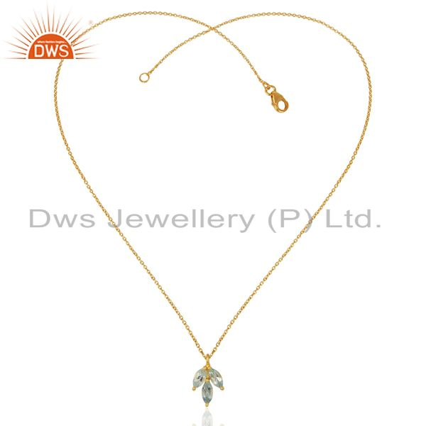 Exporter Blue Topaz Leaf Finn 925 Sterling Silver 18k Gold Plated Chain Pendant Necklace