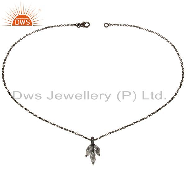 Exporter Black Oxdized 925 Sterling Silver Crystal Quartz Prong Set Chain Pendant Jewelry