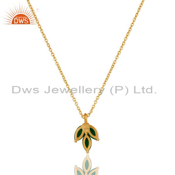 Exporter 18k Yellow Gold Plated Sterling Silver Prong Set Green Onyx Pendant with Chain