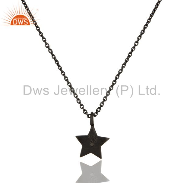 Exporter Black Oxidized Sterling Silver Star Design White Topaz Pendant with Chain