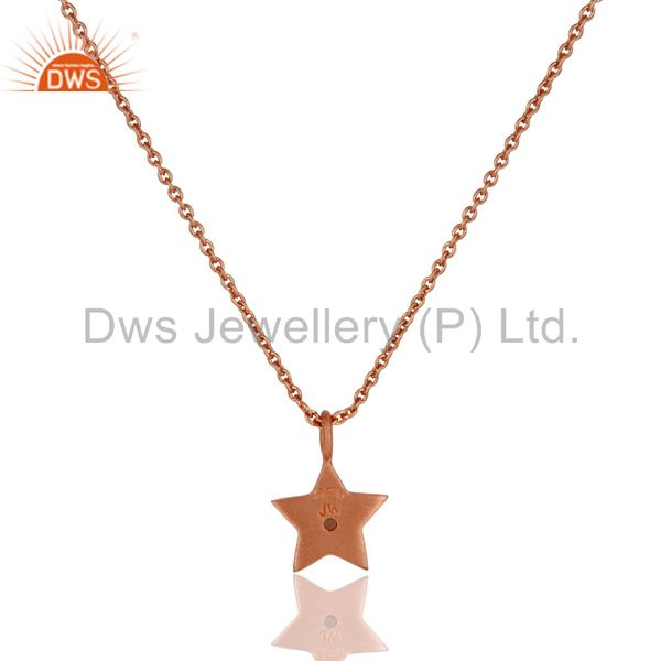 Exporter 18k Rose Gold Plated Sterling Silver Star Design White Topaz Pendant with Chain