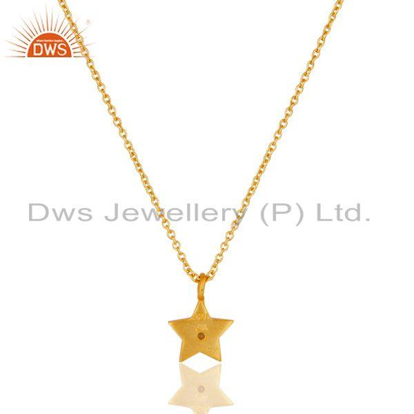 Exporter 18k Yellow Gold Plated Sterling Silver Star Design Pendant with Chain