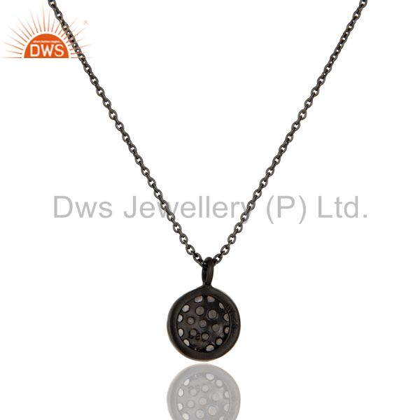 Exporter Fashion Round Single White Topaz Pendant With Black Oxidized Sterling Silver