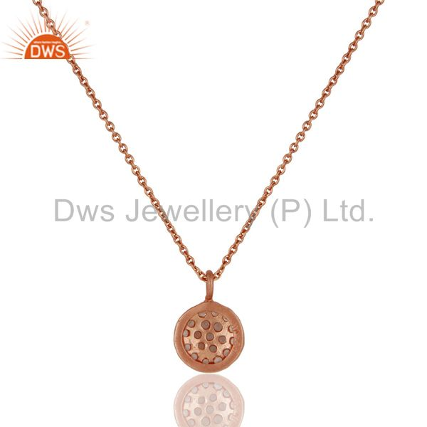 Exporter Round Single White Topaz Chain Pendant With 18k Rose Gold Plated Sterling Silver