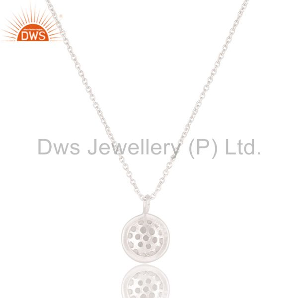 Exporter Round Single White Topaz Chain Pendant With Solid 925 Sterling Silver