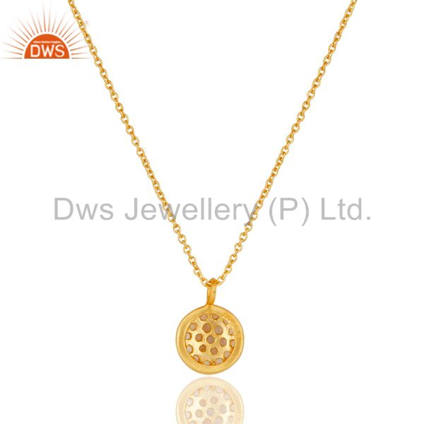 Exporter Fashion Round Single White Topaz Pendant With 18k Gold Plated Sterling Silver