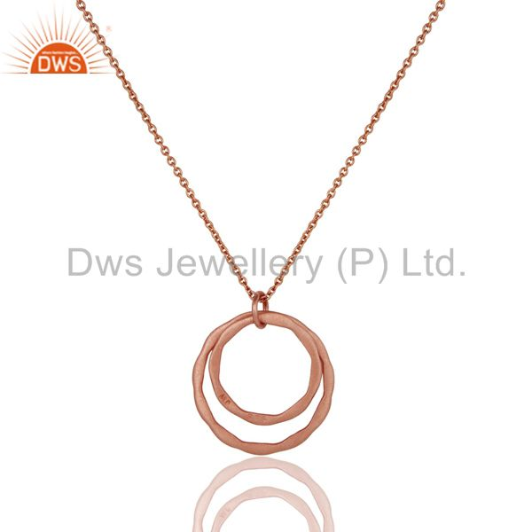 Exporter 18k Rose Gold Plated 925 Sterling Silver Classic Double Round Pendant With Chain