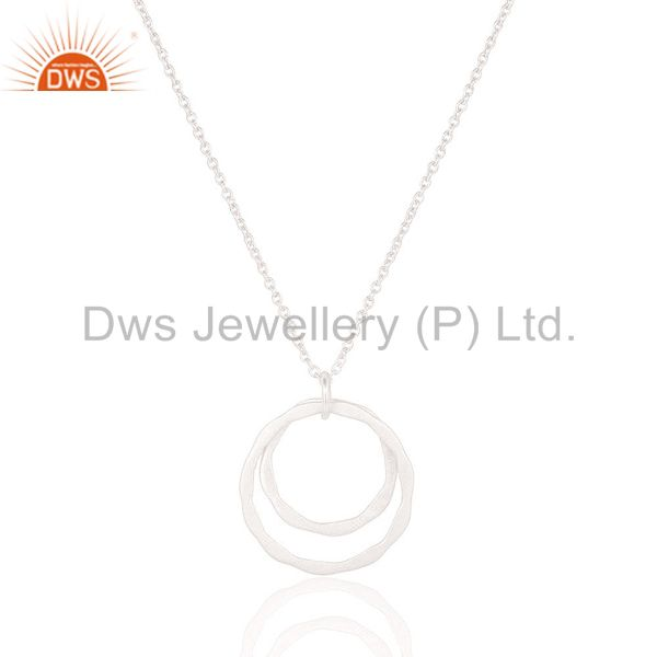 Exporter Lovely Solid 925 Sterling Silver Classic Double Round Pendant With Chain