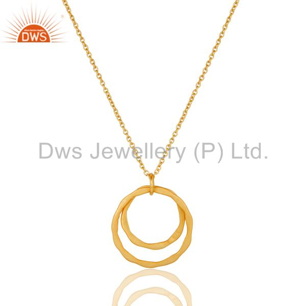 Exporter 18k Gold Plated 925 Sterling Silver Classic Double Round Pendant With Chain