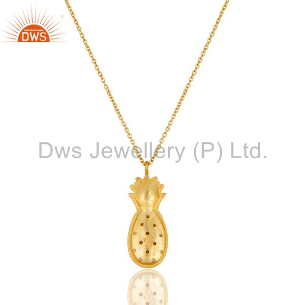 Exporter 18k Yellow Gold Plated Sterling Silver Pineapple Design Chain Pendant with Topaz