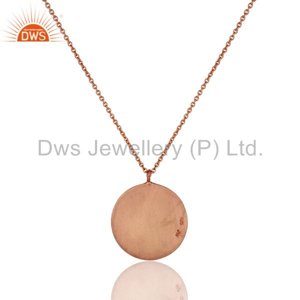 Exporter 18k Rose Gold Plated Sterling Silver Face Carving Pendant with Chain