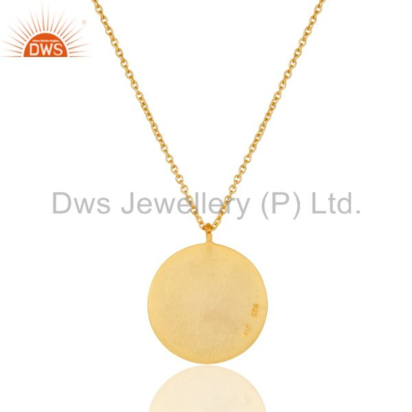 Exporter 18k Yellow Gold Plated Sterling Silver Face Carving Pendant with Chain